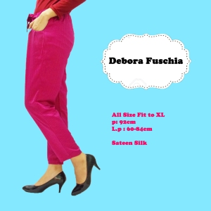 Debora Office Fushia memiliki ukuran all size fit XL Celana ini terbuat dari  sateen  yang nyaman, lembut, agak licin, longgar, dan tidak panas dipakai Harga celana ukuran all size 60 ribu  Untuk pertanyaan atau pemesanan hubungi  sms: 08990943949 line: i_shoppedhere Katalog lebih lengkap dapat dilihat di instagram @i_shoppedhere